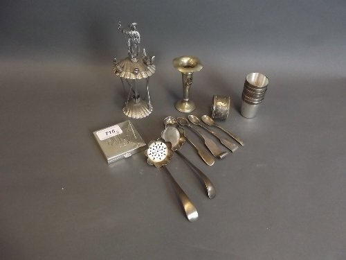 A quantity of silver plate to include brandy tots etc,