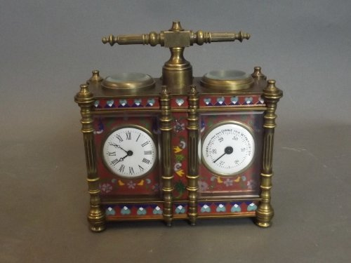 A cloisonné and brass double carriage clock and