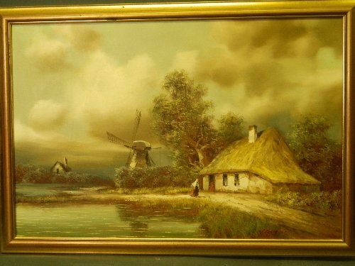 I. Costello, oil on canvas, windmill landscape scene,