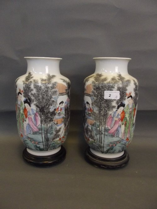 A pair of Chinese Republic period pottery vases painted