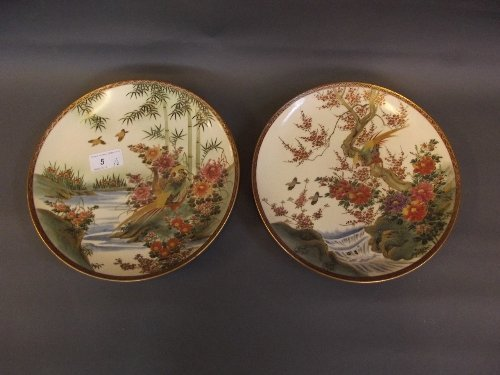 A pair of early C20th Japanese Satsuma plates painted