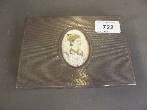A Continental silver cigarette case, the top inset with
