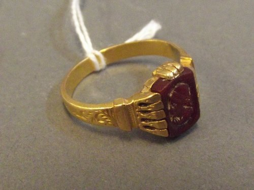 A high carat gold antique seal ring, unmarked