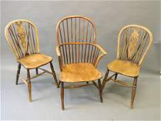 An C18th yew and elm Windsor elbow chair and a pair of