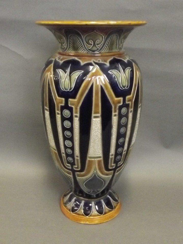 A large Doulton Art Nouveau style vase signed Frank