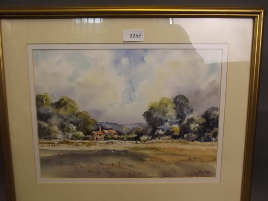 Geoff Barnsby, watercolour, 'Ockley Green' titled