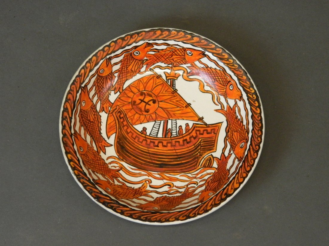 A William De Morgan pottery dish painted by John