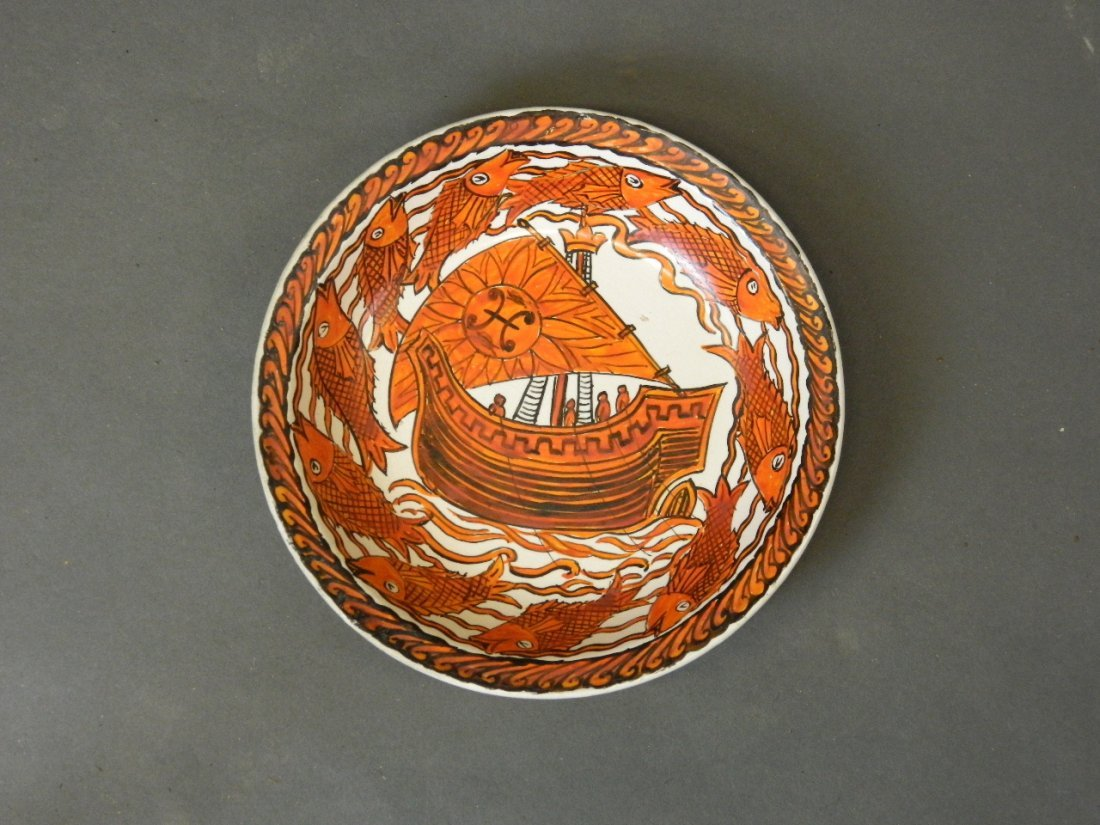 A William De Morgan pottery dish painted by John - 2