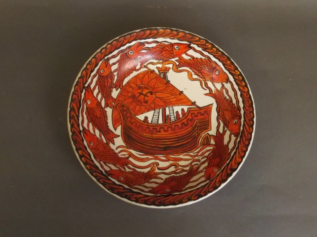 A William De Morgan pottery dish painted by John - 3