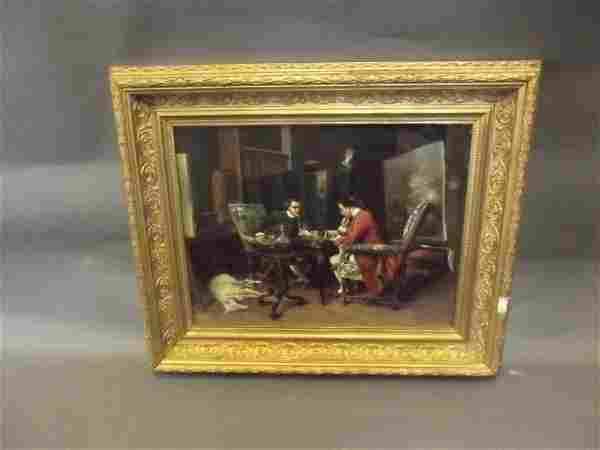 An oil on canvas, two men playing chess with attendant