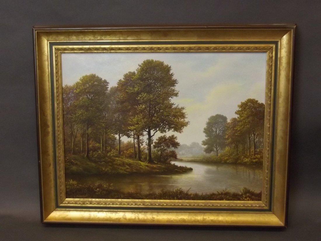 L.E. Forse, oil on canvas, peaceful river landscape,