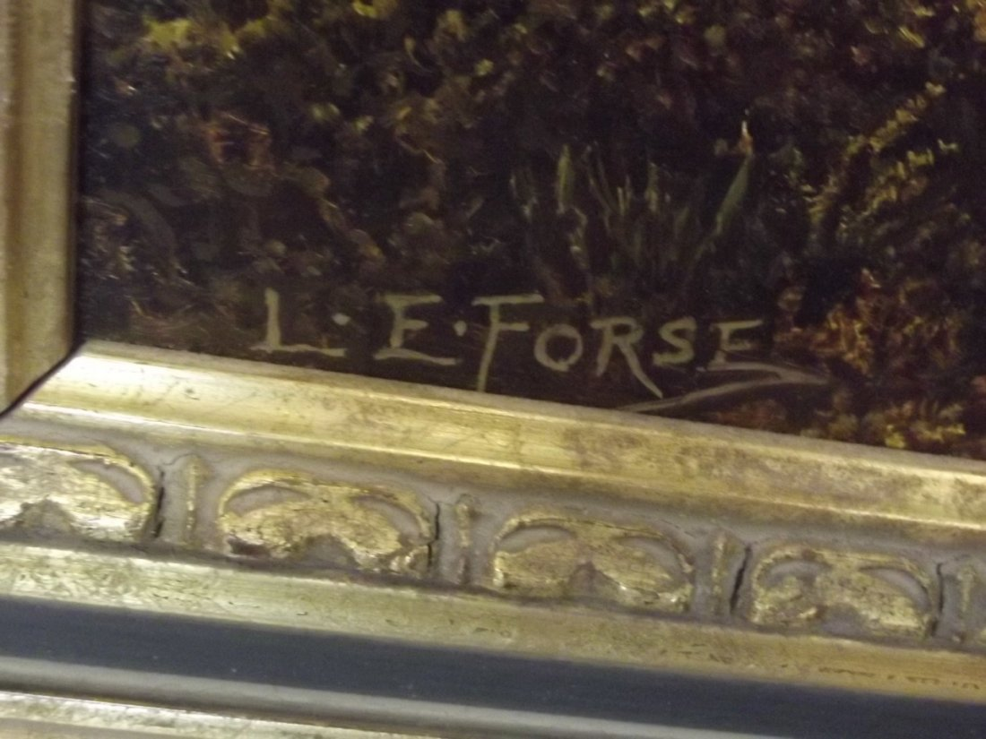 L.E. Forse, oil on canvas, peaceful river landscape, - 2