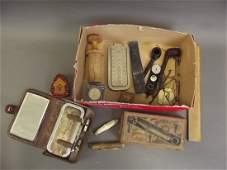 A box of vintage razors pipes gold scales penknives