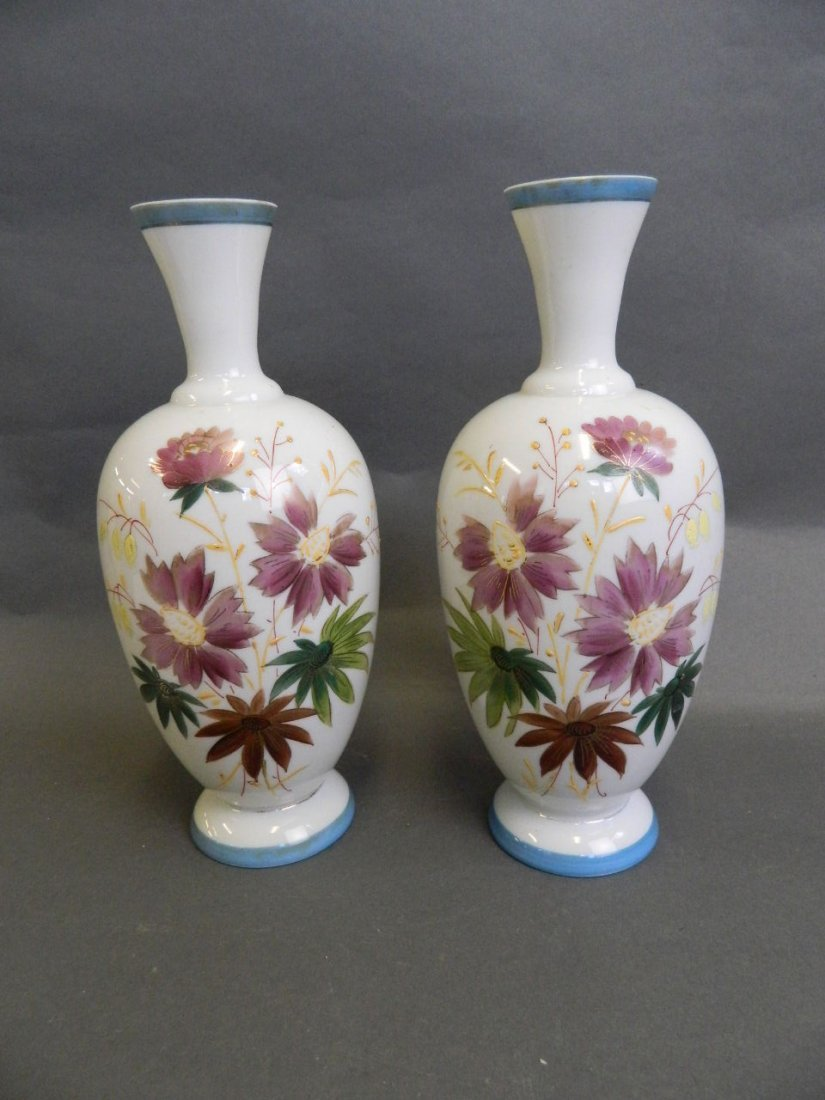 A pair of Victorian opaline vases painted with flowers