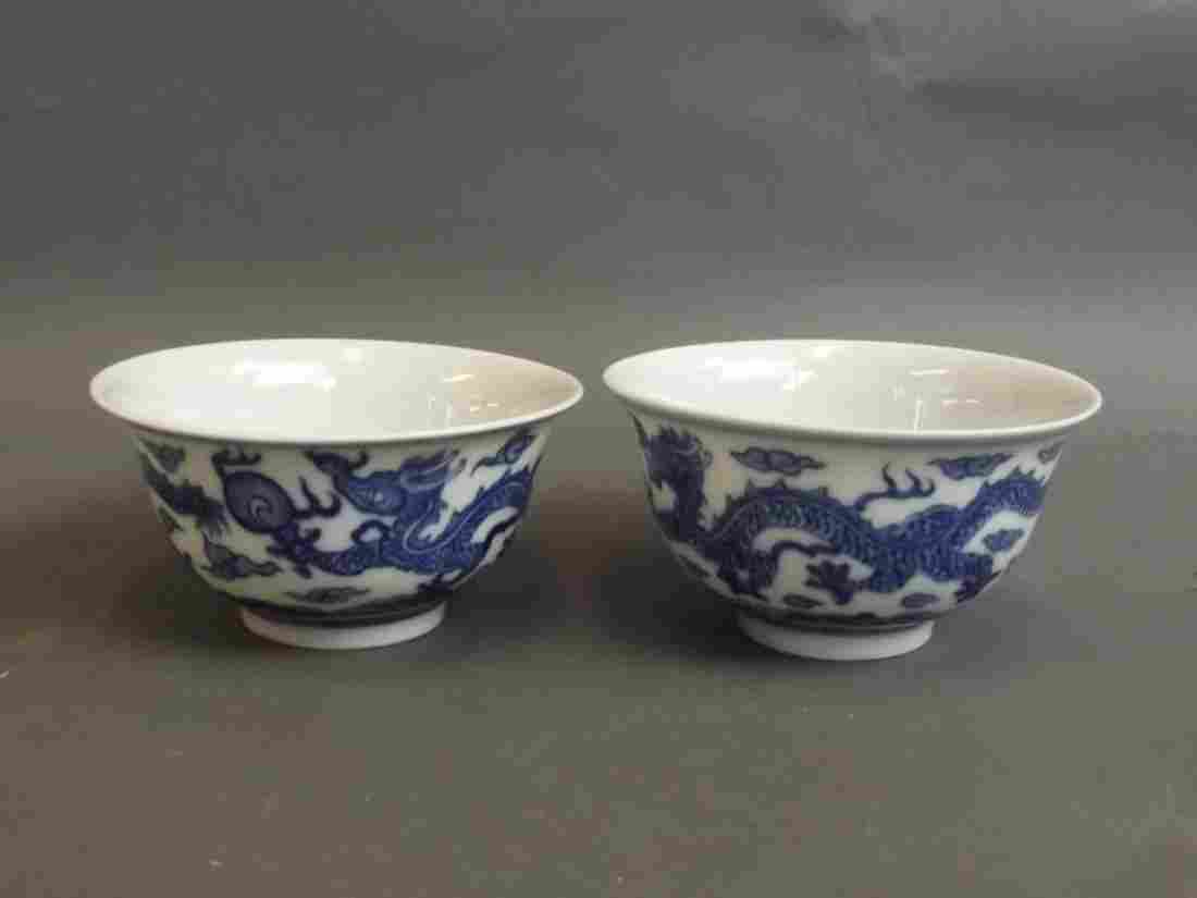 A pair of fine Chinese blue and white porcelain tea