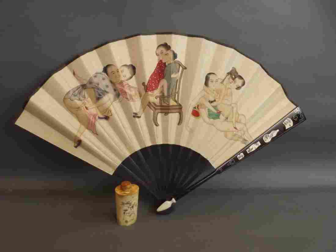 A Chinese ebony fan inlaid with silver and bone,