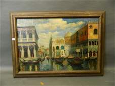 An Italian oil on canvas Venetian canal next to St