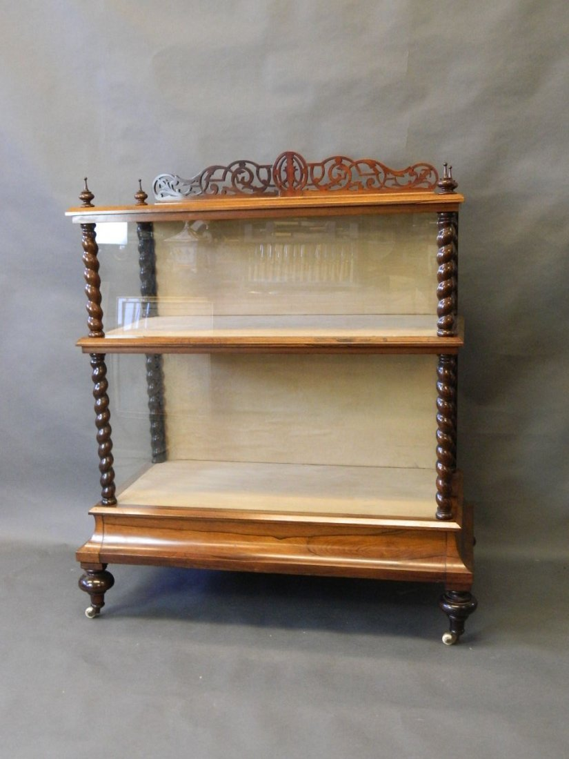 A good Victorian rosewood display cabinet, with turned