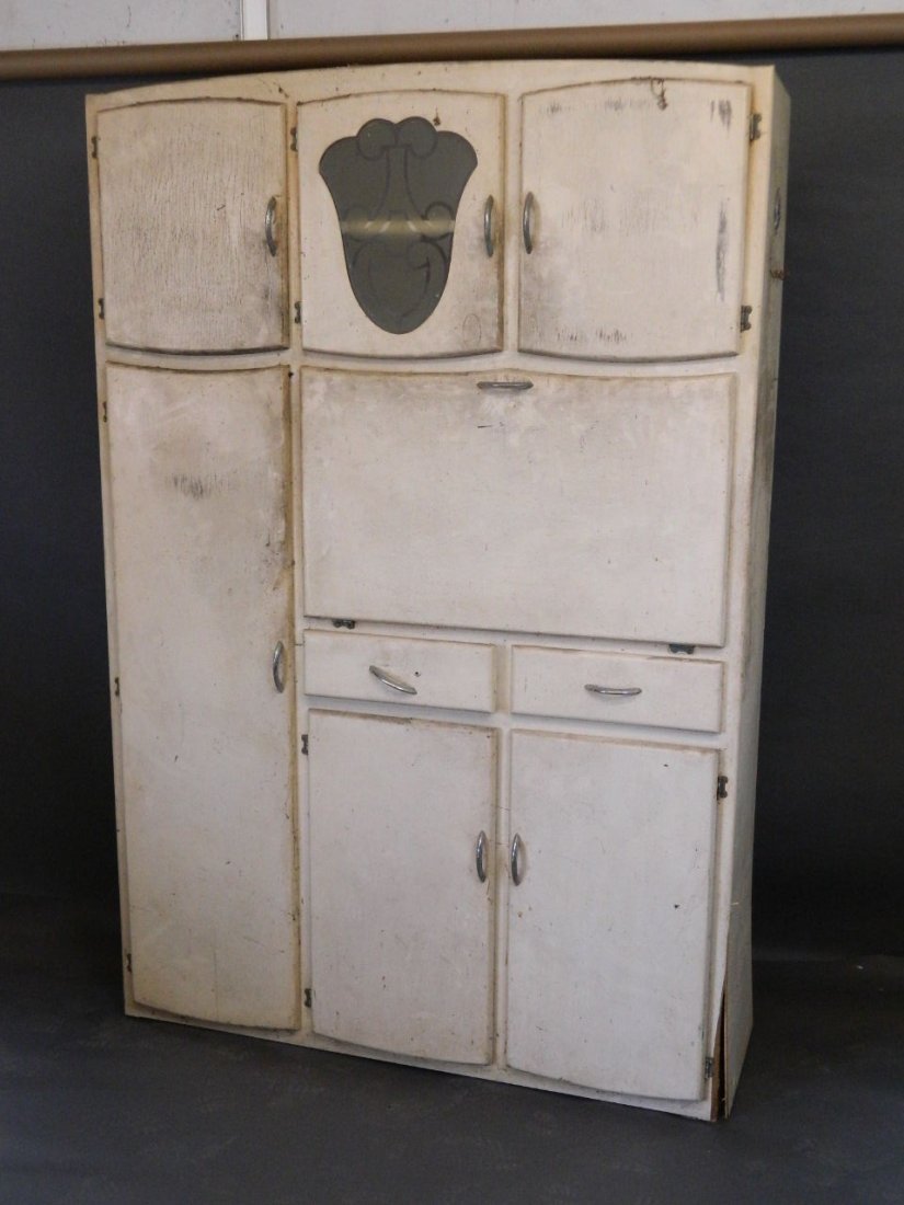 A 1930s painted kitchen dresser with fall front and