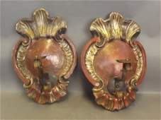 A pair of late C19th Italian painted and silver