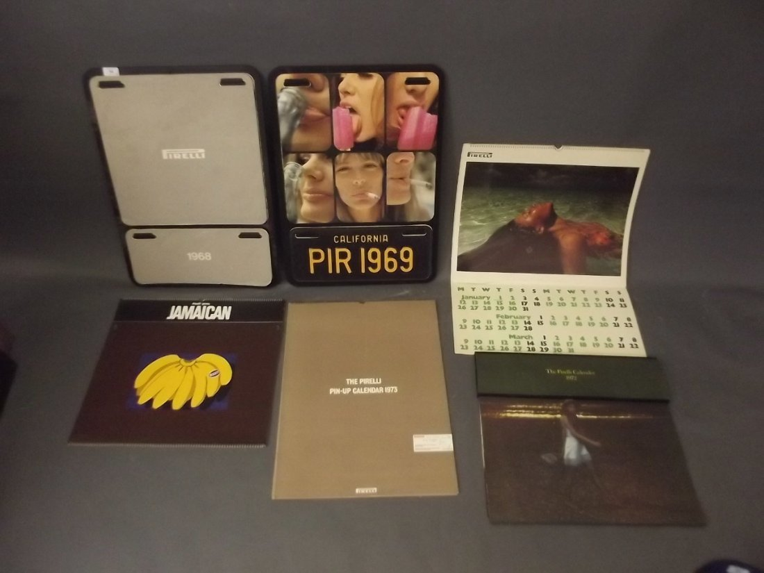 A collection of Pirelli calendars from 1968-1973