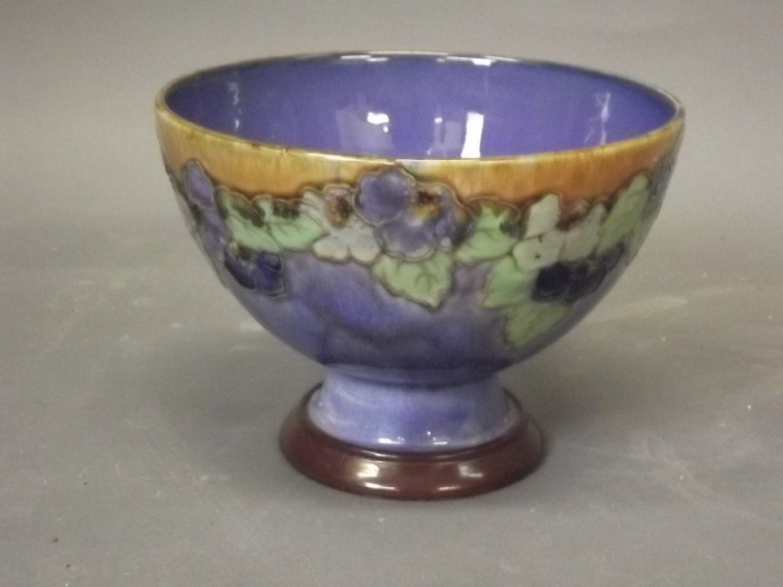 A Royal Doulton footed bowl, impressed 'AT', 7'' x 9''