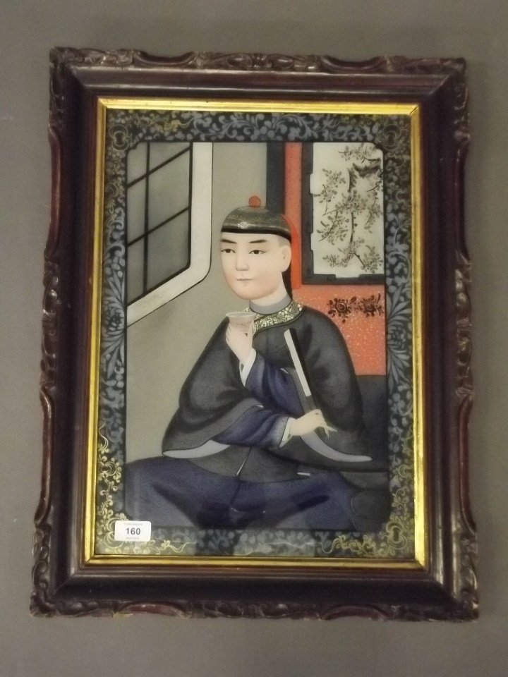 A Chinese reverse painting on glass, portrait of a