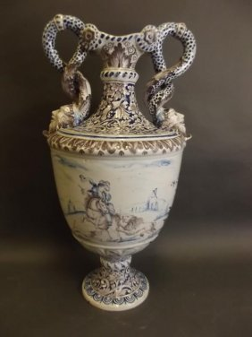 A Large Continental Majolica Pedestal Urn With Twin
