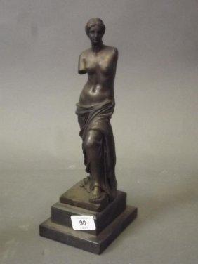 A Bronze Figure Of The Venus De Milo, On A Slate Base,