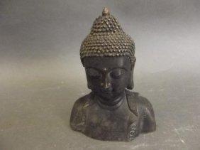 "A Chinese Bronze Head Of Buddha, 5"" High"