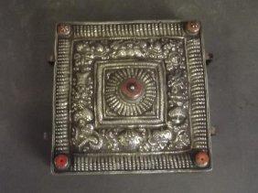 A Tibetan Silver Metal And Brass Gau Box With Repoussé
