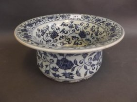 A Chinese Blue And White Porcelain Jardinière With