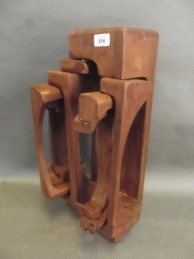 An Abstract Wood Sculpture Of Compound Form, Marked
