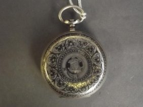 A Silver Fob Watch Case, With Engraved And Inlaid
