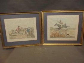 A Pair Of C19th Hand Coloured Lithographs Of Hunting