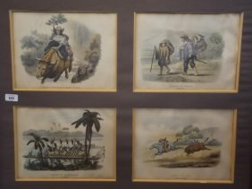 A Set Of Four C19th Mounted Lithographs From The 'album