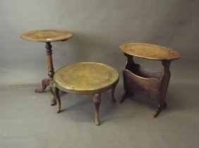A Victorian Walnut Occasional Table With Turned Column