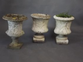 A Pair Of Reconstituted Stone Urns With Fern