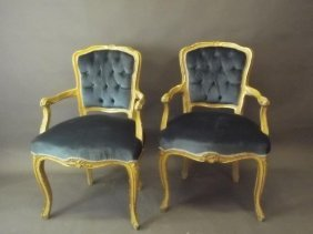 A Pair Of Italian Carved And Painted Salon Chairs With