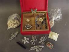 A small collection of costume jewellery including a