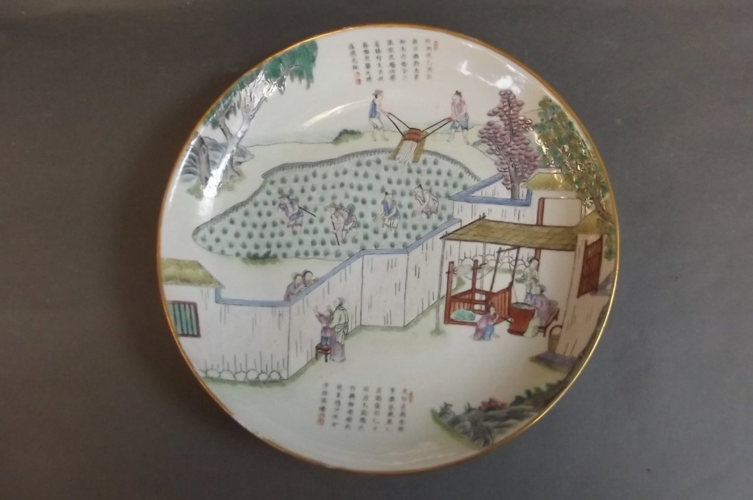 An unusual C19th Chinese porcelain plate decorated in