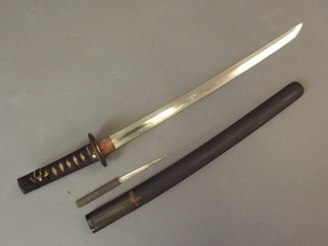 An early Wakizashi sword with gold morning glory cherry