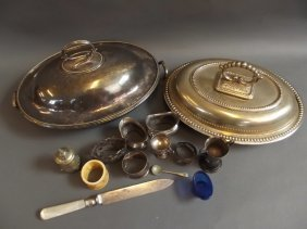 Two Oval Silver Plated Serving Tureens And Other Silver
