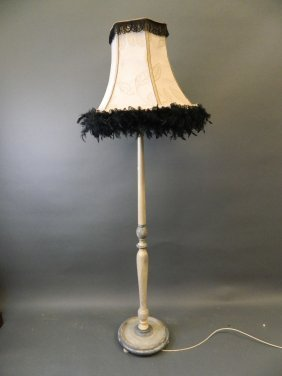 A Painted Standard Lamp With Leather Trimmed Shade,