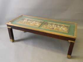 A Mahogany And Brass Bound Occasional Table With Inset