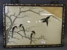 A Chinese embroidery on silk depicting four song birds