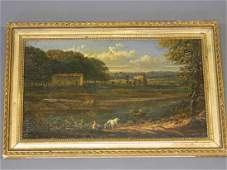 An early C19th oil on panel, Italian river landscape