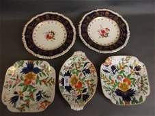 A pair of C19th Derby style plates with hand painted