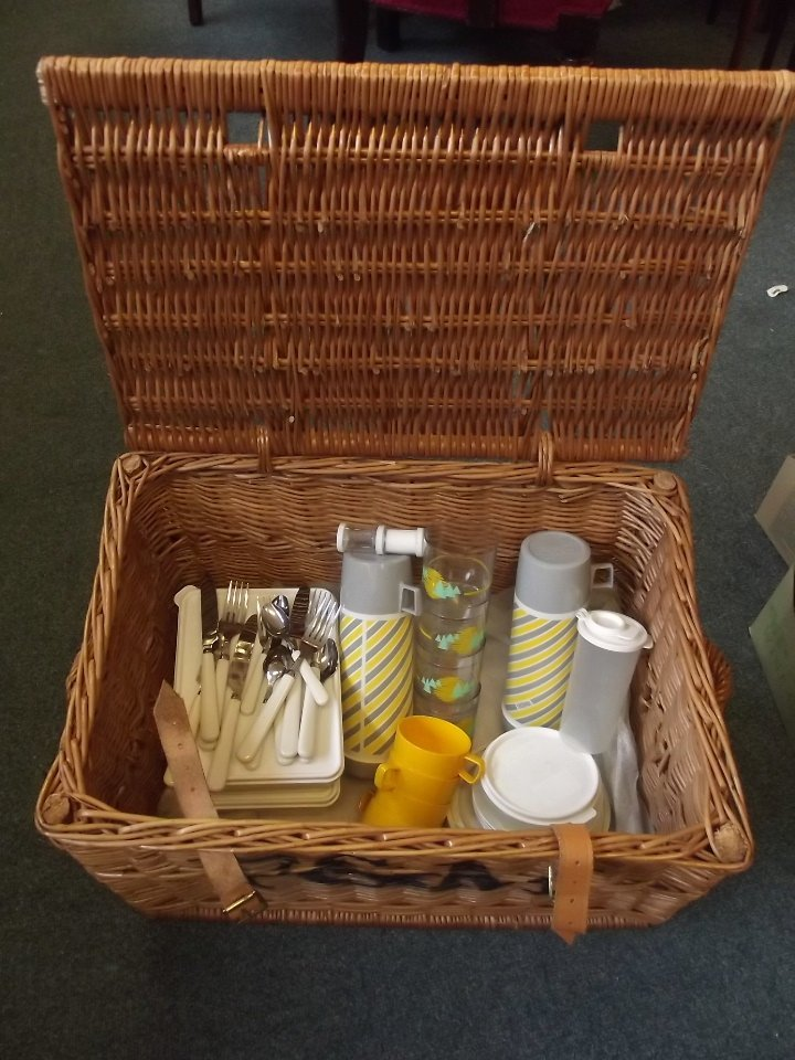 A Fortnum & Mason picnic basket with contents including - 3