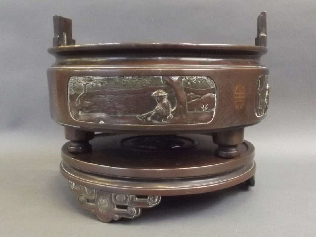 A Chinese silver inlaid bronze censer on stand, with